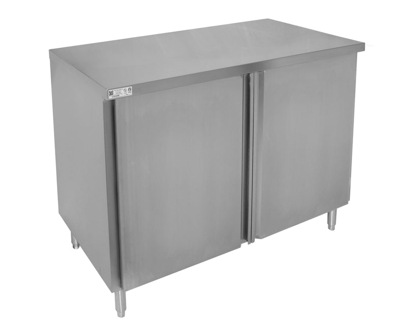 "GSW 18 Gauge Flat Top All Stainless Steel Cabinet Enclosed Work Table w/Hinged Door 24""(W) x 48""(L) x 35""(H)"