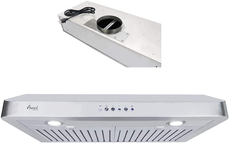 "(Like New) Awoco RH-C06-42 Classic 6"" High 1mm Thick Stainless Steel Under Cabinet 4 Speeds 900CFM Range Hood with 2 LED Lights, 6"" Round Top Vent (42""W Round Vent)"