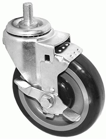 "GSW Set of 4 Threaded Stem Casters Swivel Wheels with Side Brake for Most Refrigerators (KT6111-5"" Wheel, Brake x 4)"
