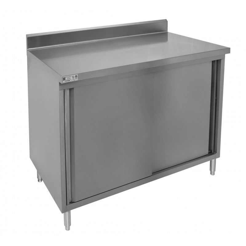 "GSW Stainless Steel Cabinet 4"" Rear Upturn Work Table w/Sliding Door 30""(W) x 60""(L) x 35""(H)"