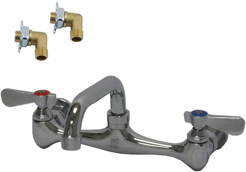 "Leyso Wall Mount Commercial Duty No Lead Faucet, 8"" Center with 6"" Swivel Spout, Dual Lever Handles, Chrome Polished and Brass Constructed Body, Installation Kit, NSF Approved (6"" Spout + Kit)"