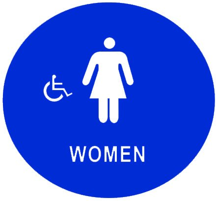 "GSW SI-WHR12 Blue 12"" Round Women's Handicap Accessible Restroom Door Sign with Braille"