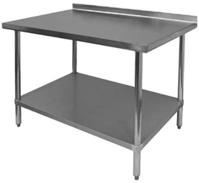 "GSW Commercial Work Table with Stainless Steel Top, 1 Galvanized Undershelf, 1-1/2"" Backsplash & Adjustable Bullet Feet (24""W x 48""L x 35""H)"