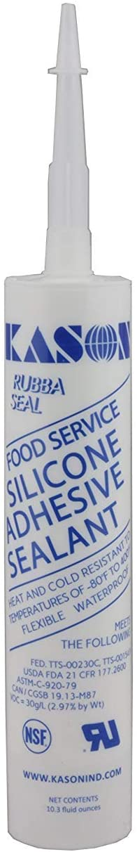 Kason NSF Food Service Silicone Adhesive Sealant Heat/Cold Resistant -80°F to 400°F Flexible Waterproof (White)