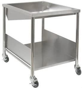 "Allstrong Heavy Duty Stainless Steel Donut Table with Bottom Basket, Glazing Dipper, Sugar Pan and Cover (34""W x 28""L x 36""H)"
