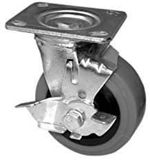 "GSW Set of 4 Heavy Duty Industial Caster Swivel Wheel 600 LBS Capacity (KP6111-5"" Wheel, Brake x 4)"