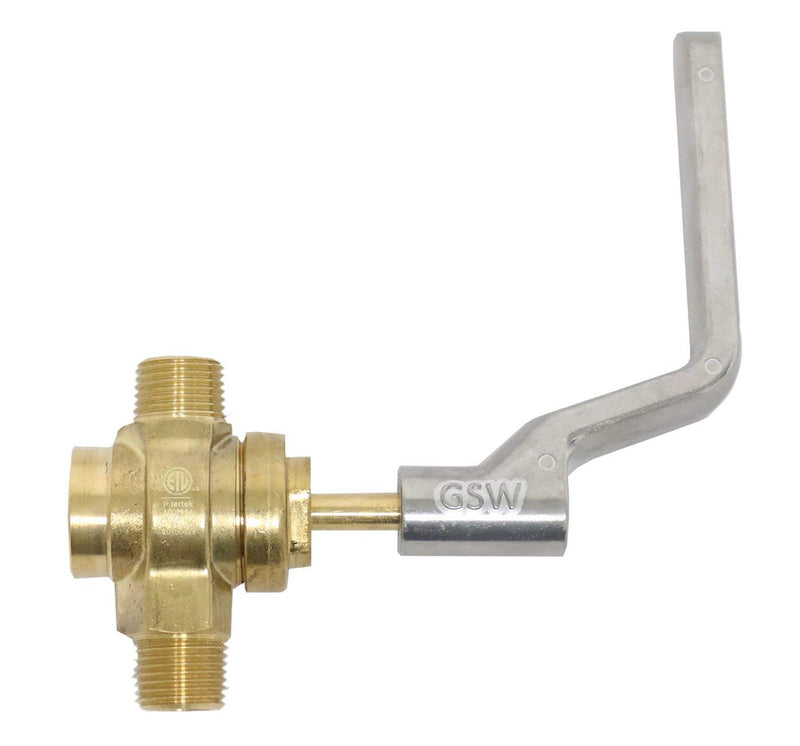 "GSW WR-GV Copper Gas Valve with Handle for Commercial Wok Range, ETL Approved, 1/2"" NPT X 1/2"" NPT 1/2 PSI"
