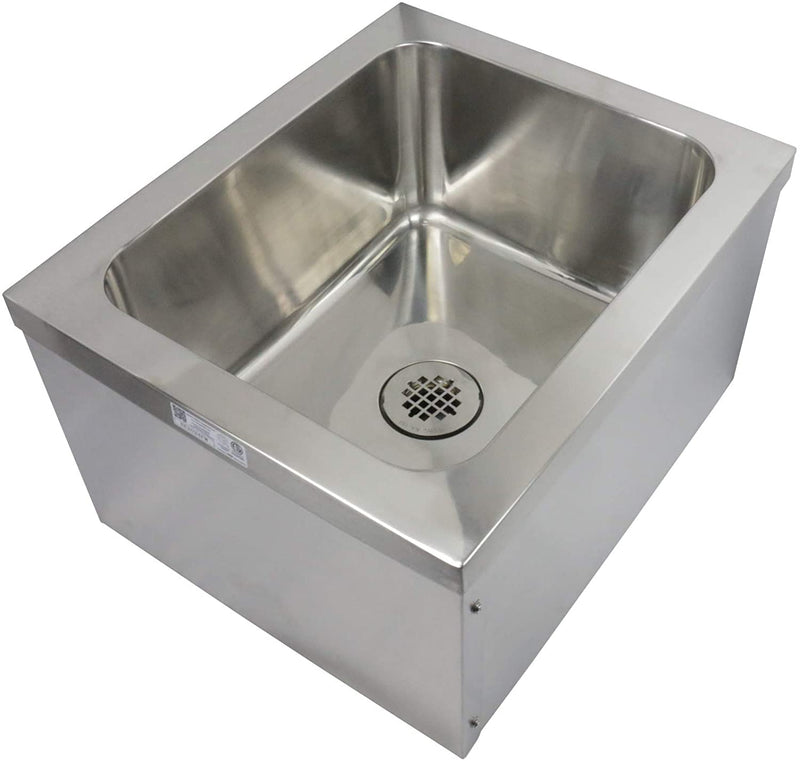 "GSW SE2424FM Commercial Stainless Steel Floor Mount Mop Sink With Strainer - Perfect for Restaurant, Bar, Buffet (24""W x 24""L x 14""H)"