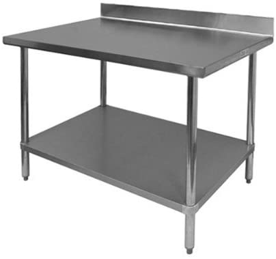 "GSW All Stainless Steel Commercial Work Table with 1 Undershelf, 4"" Backsplash & Adjustable Bullet Feet, 24""W x 36""L x 35""H"