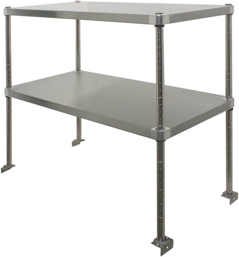 "GSW DS-1672 Stainless Steel Adjustable Double Over-Shelf (16""D x 72-3/4""W x 36""H)"