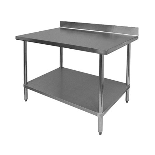 "GSW All Stainless Steel Commercial Work Table with 1 Undershelf, 4"" Backsplash & Adjustable Bullet Feet, 24""W x 60""L x 35""H"