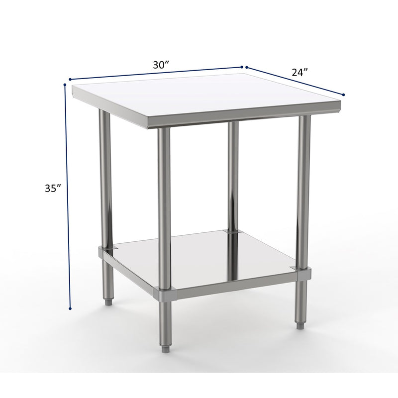 "GSW Commercial Grade Flat Top Work Table with Stainless Steel Top, Galvanized Undershelf & Legs, Adjustable Bullet Feet, Perfect for Restaurant, Home, Office, Kitchen or Garage, NSF Approved (24""D x 30""L x 35""H)"