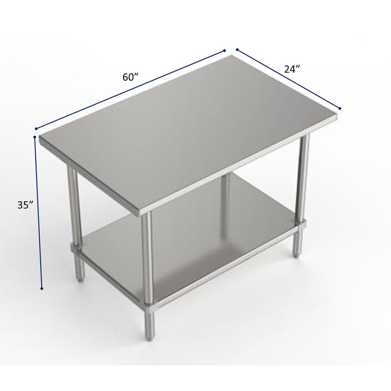 "GSW Commercial Grade Flat Top Work Table with All Stainless Steel Top, Undershelf & Legs, Adjustable Bullet Feet, NSF/ETL Approved to Meet Sanitation Food Service Standard 37 (24""D x 60""L x 35""H)"