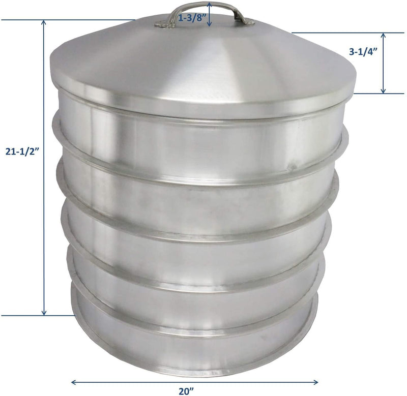 "Leyso 5 Aluminum Steam Rack with 1 Steam Cap Set, 20"" D x 3-1/2"" H - Great for Dim Sum, Vegetables, Meat and Fish (6 Piece Set)"