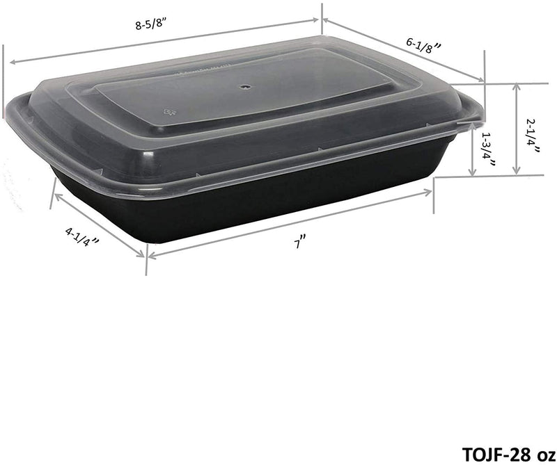 Leyso Black Plastic Microwavable/Freezable/Dishwasher Safe Reusable Meal Prep Food Containers with Lid Single 1 Compartment Lunch Boxes (28 Oz)