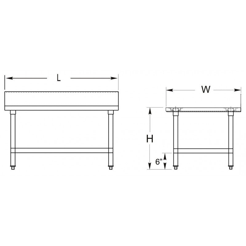 "GSW Commercial Work Table with Stainless Steel Top, 1 Galvanized Undershelf, 1-1/2"" Backsplash & Adjustable Bullet Feet (30""D x 18""L x 35""H)"