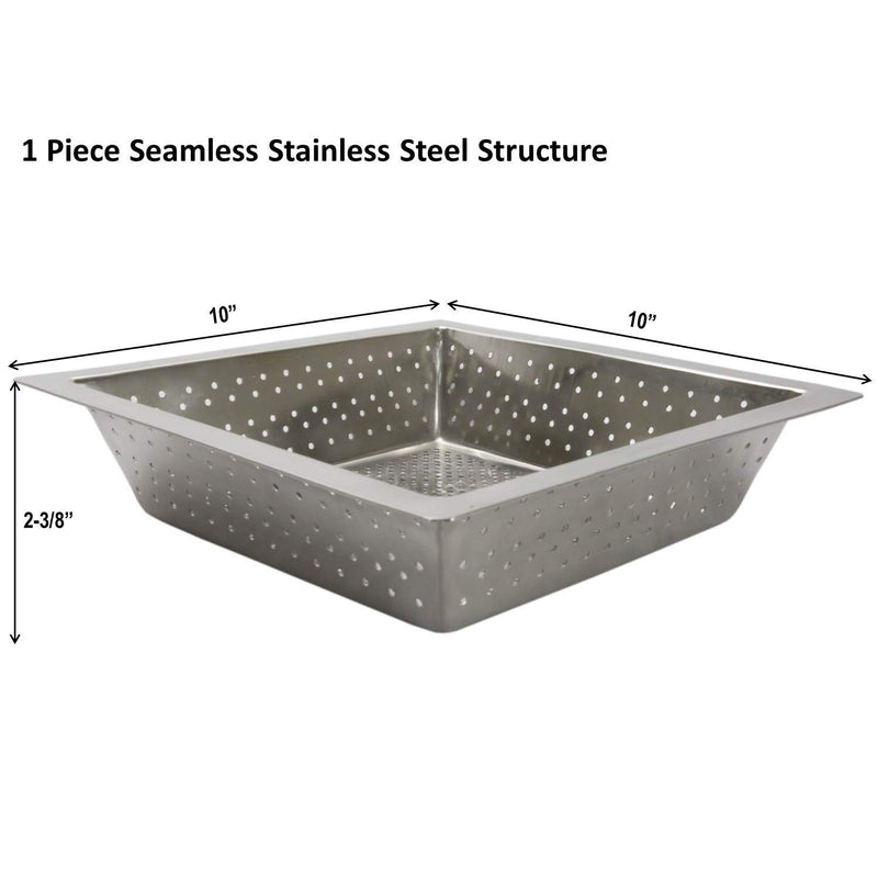 "Leyso FS-BS Seamless Stainless Steel Floor Sink Basket, 10"" x 10"" x 3"" - Perfect for Restaurant, Bar, Buffet (3""H SS)"