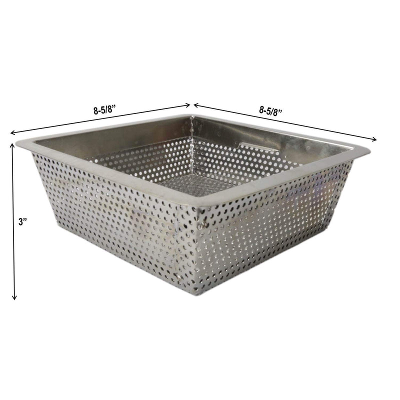 "Leyso FS-BSI Drop-in Stainless Steel Floor Sink Basket, 8-½"" x 8-½"" x 3"" - Perfect for Restaurant, Bar, Buffet (Drop-in SS)"