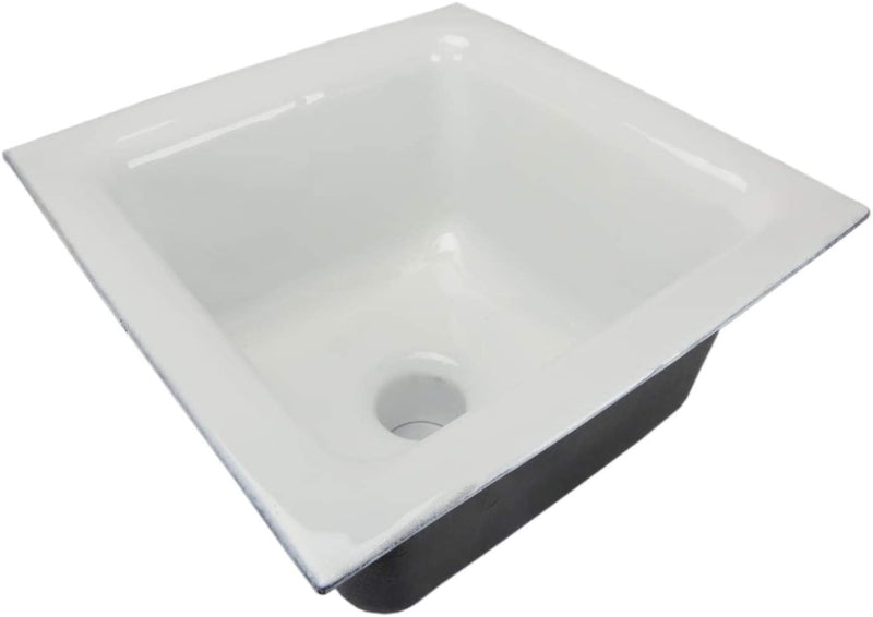 "GSW Floor Sink with Dome Strainer, Cast Iron Body & Ceramic Surface 12""W x 12""L x 6""H - Perfect for Restaurant, Bar, Buffet (3"" Drain)"