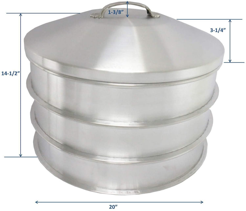 "Leyso 3 Aluminum Steam Rack with 1 Steam Cap Set, 20"" D x 3-1/2"" H - Great for Dim Sum, Vegetables, Meat and Fish (4 Piece Set)"