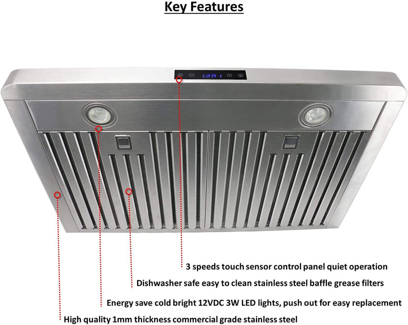 "Leyso RH-HQ-36 Under Cabinet Stainless Steel Range Hood, Digital 3-Speed Control, 800 CFM, 2 LED Lights, Baffle Filters (36"")"
