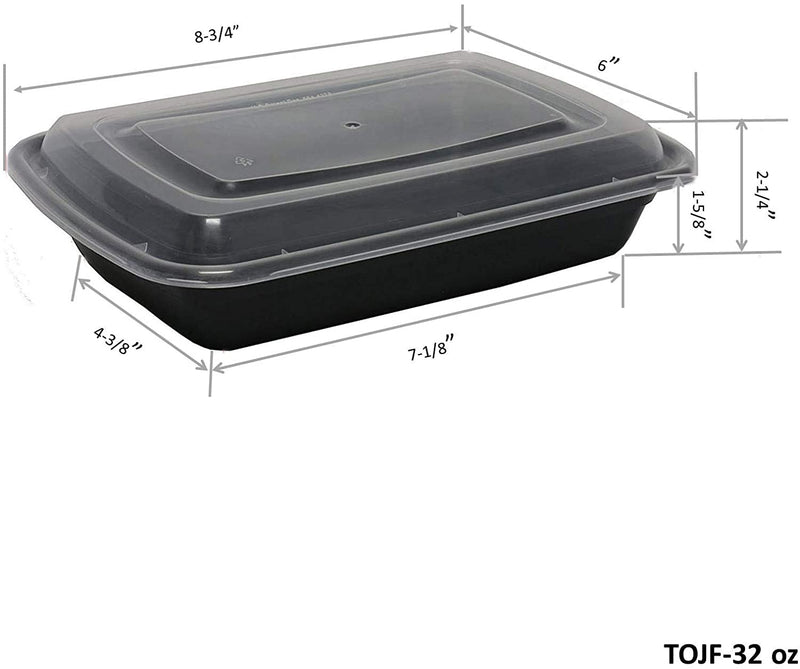 Leyso Black Plastic Microwavable/Freezable/Dishwasher Safe Reusable Meal Prep Food Containers with Lid Single 1 Compartment Lunch Boxes (32 Oz)