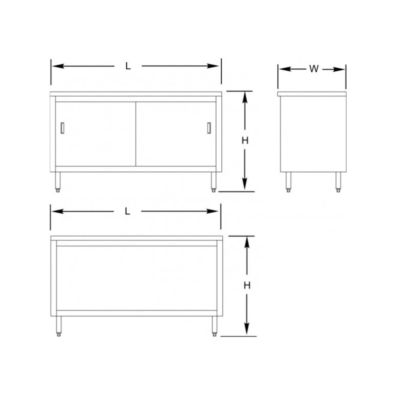 "GSW 18 Gauge Flat Top All Stainless Steel Cabinet Enclosed Work Table w/Hinged Door 24""(W) x 72""(L) x 35""(H)"
