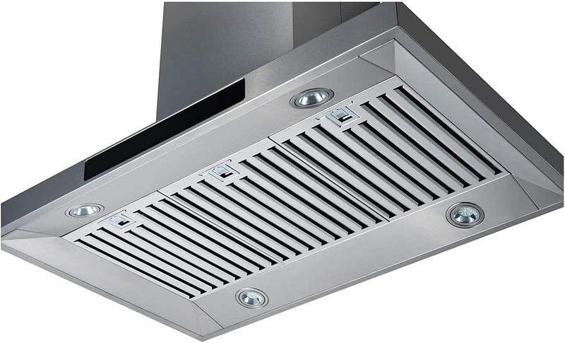 "Awoco RH-WQ-36 Island Mount 43""H Stainless Steel Range Hood 4 Speeds, 6"" Round Top Vent 900CFM 4 LED Lights & Remote Control (36"" Island Mount)"