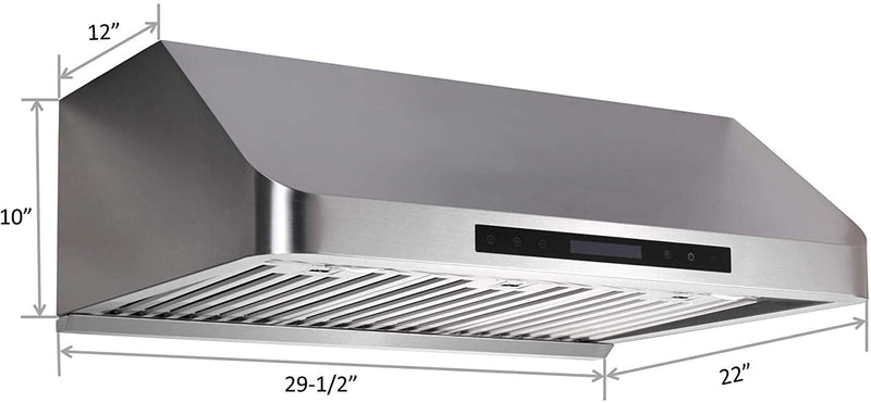 "Awoco RH-S10-30E Supreme 10"" High Stainless Steel Under Cabinet Range Hood 4 Speeds, 8"" Round Top Vent, 1000CFM 2 LED Lights, Remote Control & External Oil Collector (30""W)"