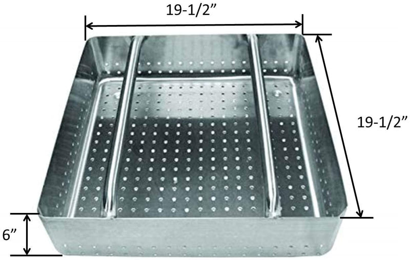 "Leyso Stainless Steel Scrap Basket Includes 2 Pack Slide Rails, 19-1/2""W x 19-1/2""L, ETL Certified (20"" x 20"", Scrap Basket)"
