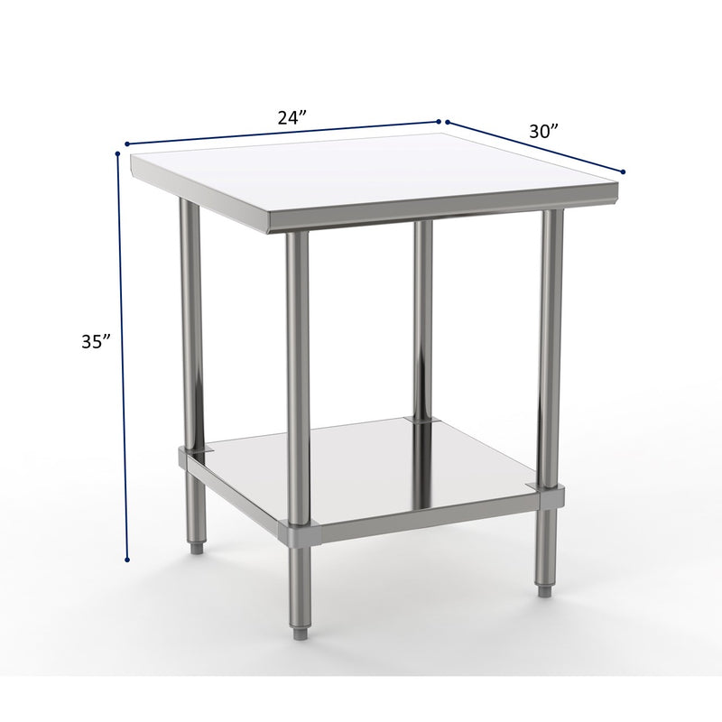 "GSW Commercial Grade Flat Top Work Table with Stainless Steel Top, Galvanized Undershelf & Legs, Adjustable Bullet Feet, NSF/ETL Approved to Meet Sanitation Food Service Standard 37 (30""W x 24""L x 35""H)"