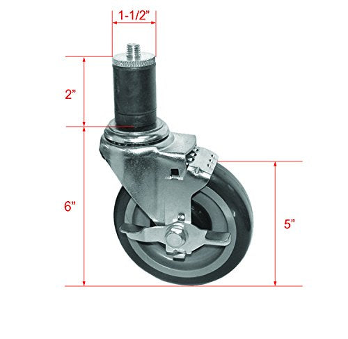 "GSW Set of 4 Casters for 1-1/2"" or 1-5/8"" Tubing Legs for Worktables and Equipment Stands (KS6113-5"" Wheel, Brake x 4)"