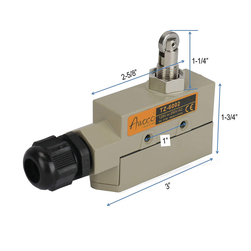 Awoco TZ-6002-15A Heavy Duty Door Micro Switch with Roller Plunger for Sliding Doors/Windows for Awoco, Maxwell, Pioneer, Welbon or Mars Air Curtains