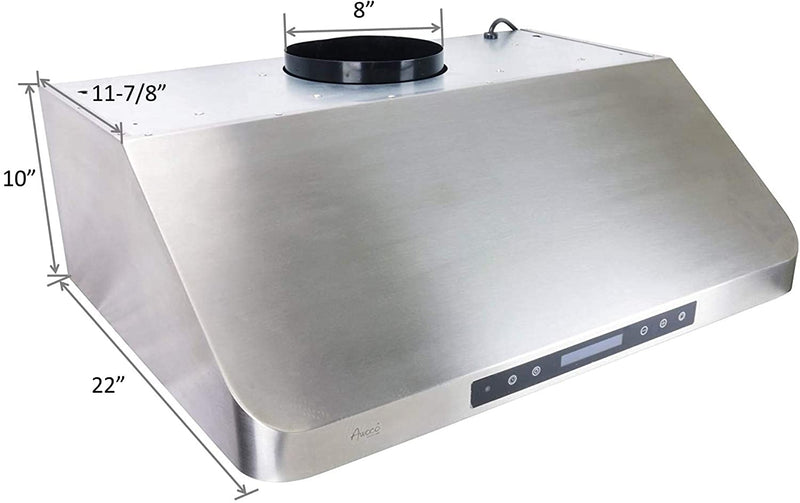 "Awoco RH-S10-30 Supreme Series 10"" High 1mm Stainless Steel Under Cabinet 4 Speeds 1000CFM Touch Sensor Panel Range Hood w/ 2 LED Lights & Remote Control (30""W)"