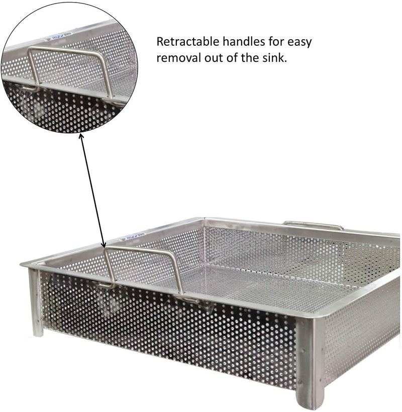 "Leyso Stainless Steel Compartment ETL Certified Drop-In Sink Drain Basket (18"" x 18"", Drain Basket)"