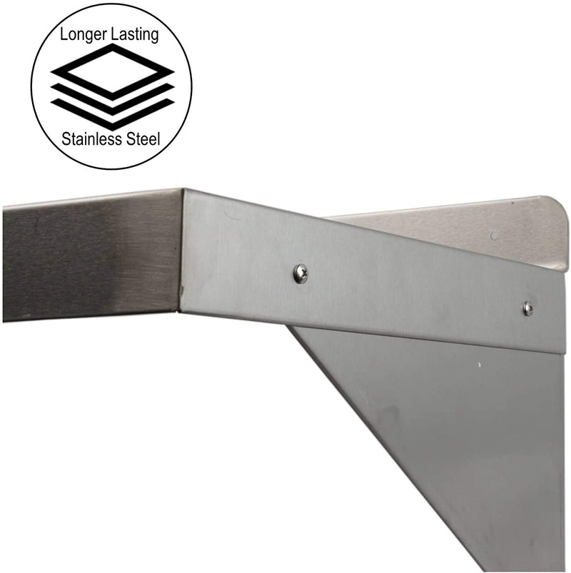 "GSW Stainless Steel Commercial Wall Mount Shelf Industrial Appliance Equipment, Restaurant, Bar, Home, Kitchen, Laundry, Garage and Utility Room (12"" Depth)"