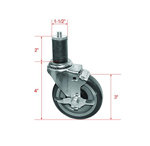 "GSW 4 Set of Side-Brake Stem Caster for Worktables, Tube 1-1/2"" (KS4113, Brake x 4)"