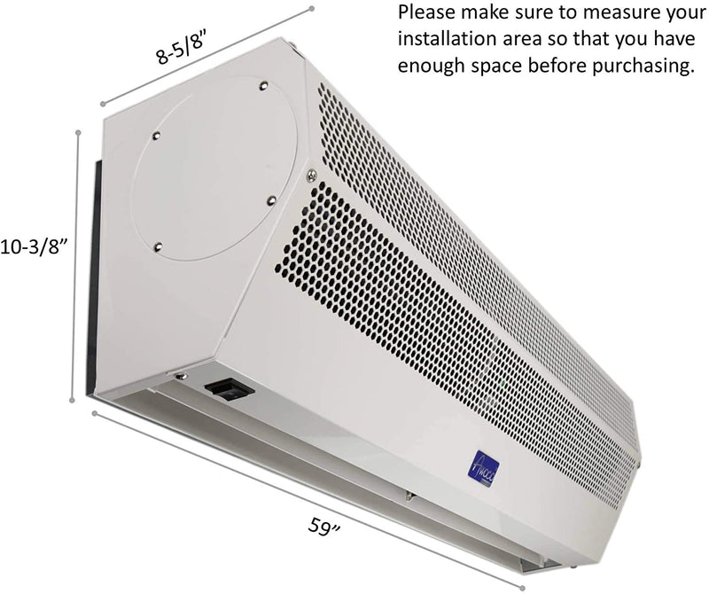 "Awoco 60"" Super Power 2 Speeds 2100 CFM Commercial Indoor Air Curtain with Shutoff Delay Magnetic Switch for Swinging Doors"