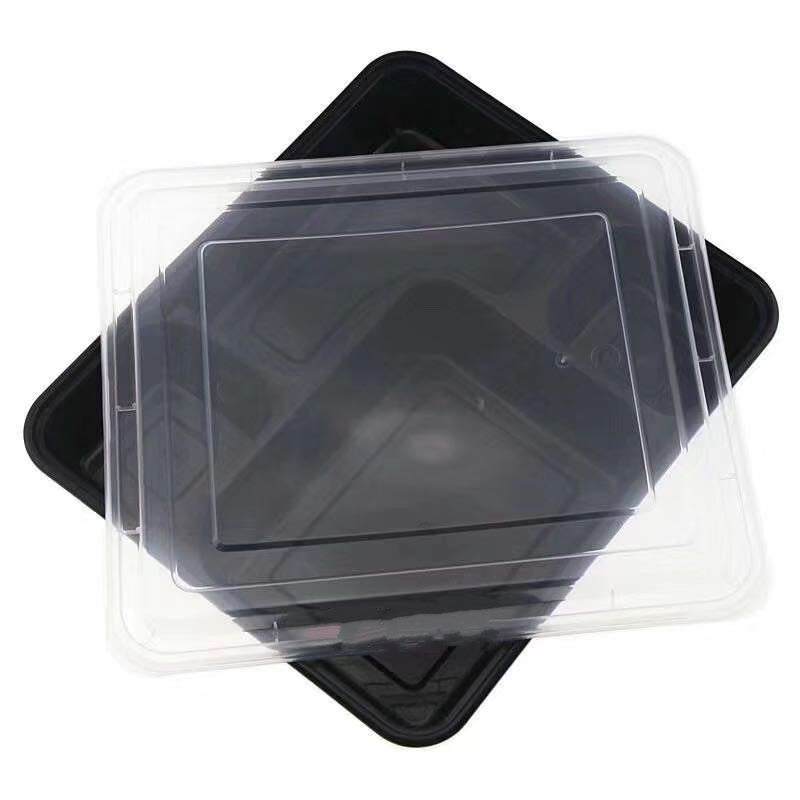Leyso TO-RY-NL-437-1 Black 4 Compartment PP Rectangular Containers with Lids (37 Oz)