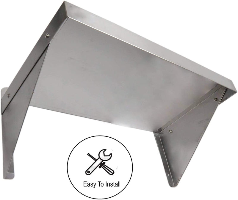 "GSW Stainless Steel Commercial Wall Mount Shelf Industrial Appliance Equipment, Restaurant, Bar, Home, Kitchen, Laundry, Garage and Utility Room (14"" Depth)"