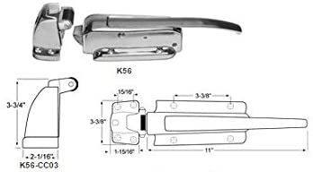 "Kason K56C-CC01 Walk-In Safety Chrome Latch Complete with Key and K56-CC03 Strike (Offset 1-3/4"" to 2-1/2"")"