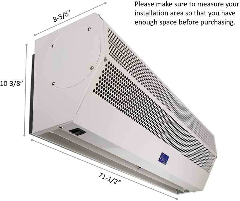 "Awoco 72"" Super Power 2 Speeds 2350 CFM Commercial Indoor Air Curtain with Shutoff Delay Magnetic Switch for Swinging Doors, CE Certified"