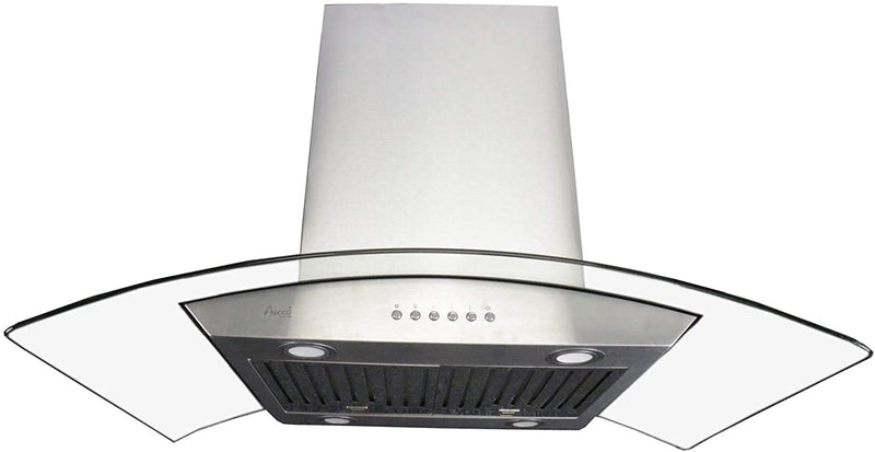 "Awoco RH-ISG-36 6"" Round Vent 1mm Thick Stainless Steel Island Mounted 4 Speeds 900CFM Range Hood with 4 LED Lights, Baffle Filter, Soft Touch Electronic Control Pane (36"" Island Mount)"
