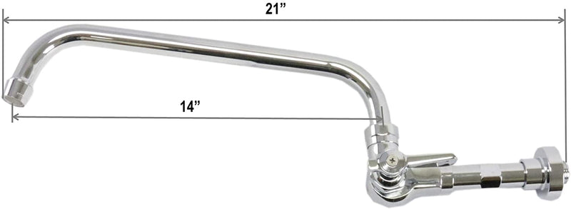 "Leyso Brass Chrome Commercial Duty Single Lever Wall Mount Chinese Wok Range No Lead Faucet, NSF Approved (14"" Swivel Spout)"