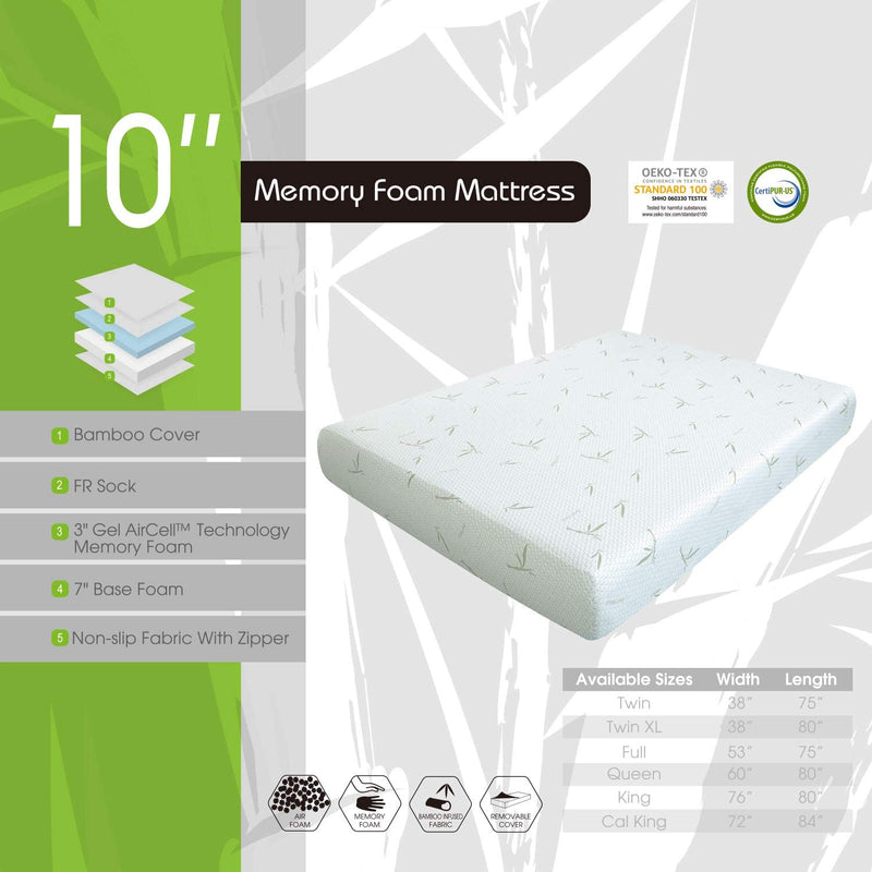 MLILY 10'' Dreamer Memory Foam Mattress, Bamboo Cover, Breathable Bed Mattresses (Queen)