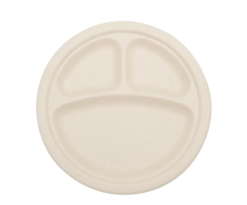 "Total Papers 9"" 3 Compartment Eco-Friendly Compostable Wheat Straw Round Plates (500 pcs)"