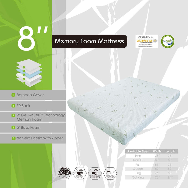 MLILY 8'' Dreamer Memory Foam Mattress, Bamboo Cover, Breathable Bed Mattresses (Full)