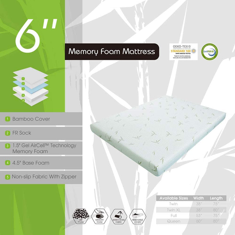 MLILY 6'' Dreamer Memory Foam Mattress, Bamboo Cover, Breathable Bed Mattresses (Full)
