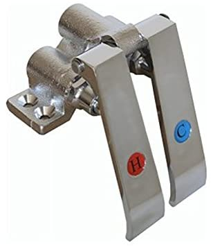 AA Faucet Knee Operated Valves with Red & Blue Index Brass Pedals