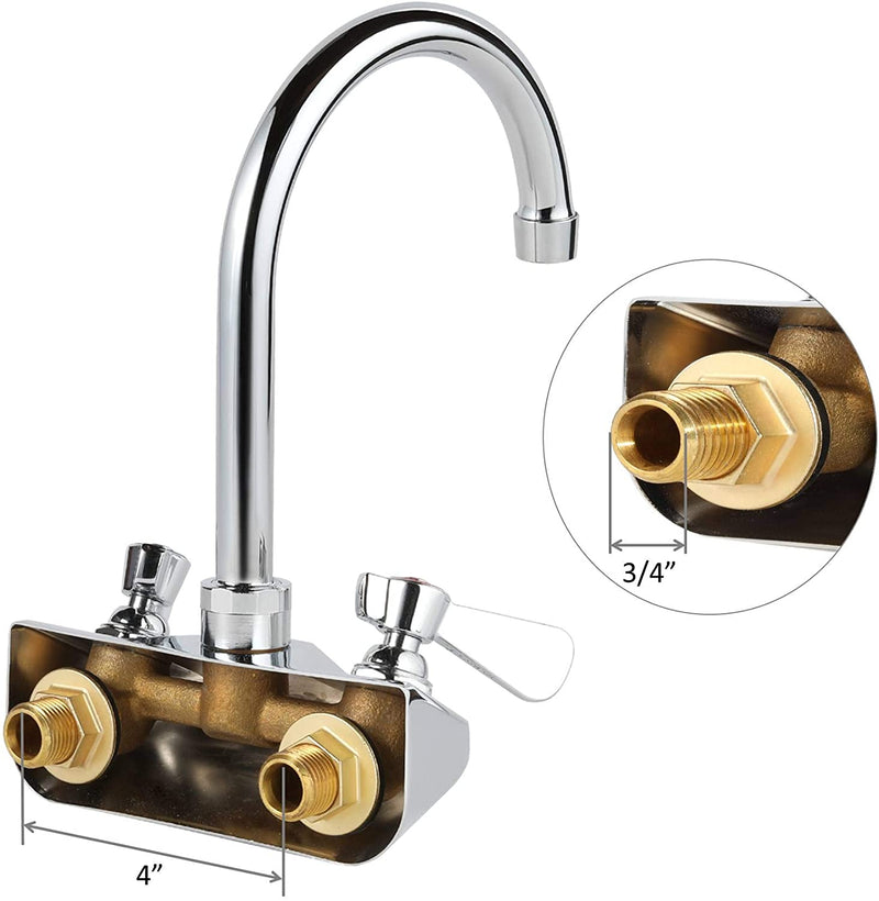 "AA Faucet 4"" Wall Mount No Lead Faucet with 6"" Swivel Gooseneck Spout NSF Certified"